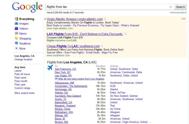 google adds flight information to us search results it vendors computerworld uk. Black Bedroom Furniture Sets. Home Design Ideas