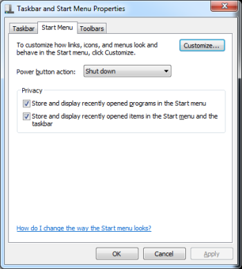 Customization begins here for both Start menu and the Taskbar.