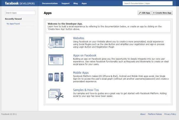 Facebook's Developer App page