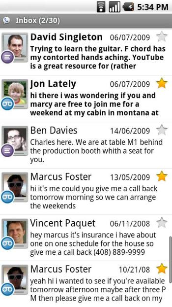 The voicemail inbox in Google Voice for Android.