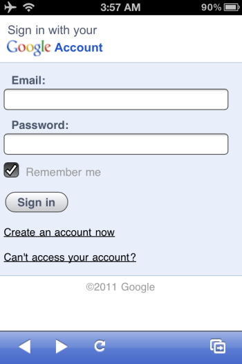 Signing in to Google Voice from the iPhone app.