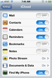 Apple iCloud options in iOS 5