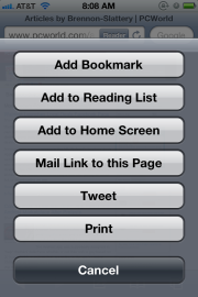 Safari options with Twitter in iOS 5