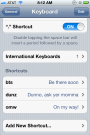 Shortcuts in iOS 5 on an iPhone (iphone 4 Vodaphone) 4
