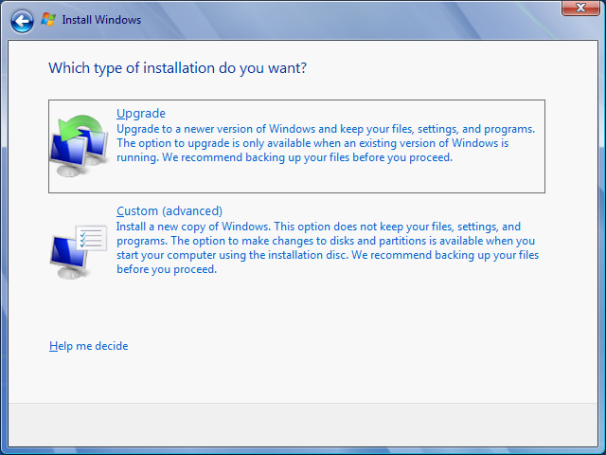 Choose Upgrade in the Windows 7 Installation Menu
