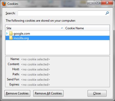 Firefox Cookies window