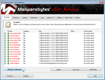 Removing infections in Malwarebytes; click for full-size image.
