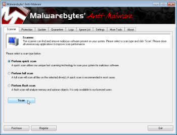 Starting the scan in Malwarebytes; click for full-size image.
