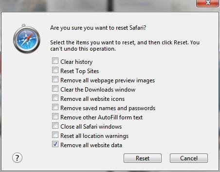 Safari Reset menu
