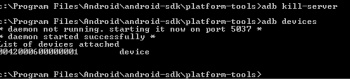 Checking to see if the Android SDK can locate the Kindle Fire via USB.