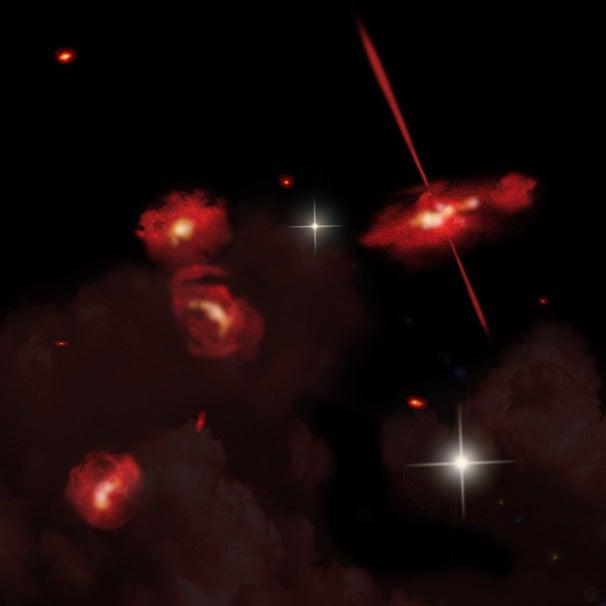 Interpret ztvárnění čtyř extrémně červené galaxie, Credit: David A. Aguilar, ředitel pro veřejné záležitosti, Harvard-Smithsonian Center for Astrophysics