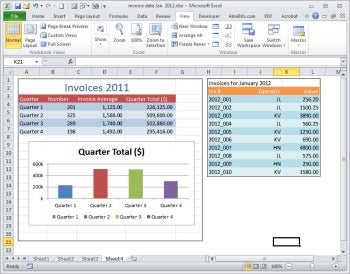 You can assemble snapshots of data from multiple worksheets into one worksheet for printing on a single sheet of paper.
