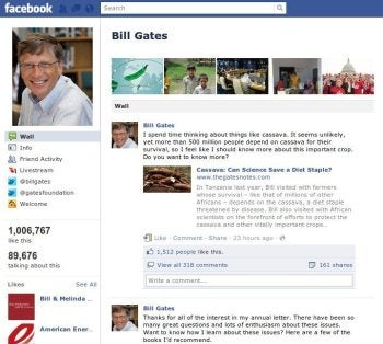 Bill Gates' public FacebooBill Gates' public Facebook page with the old Facebook profile layoutk page