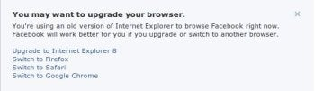Facebook browser warning