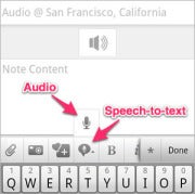 Turn on speech to text in Evernote
