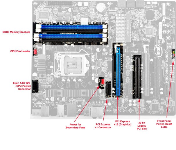 Intel D67BG motherboard; click for full-size image.
