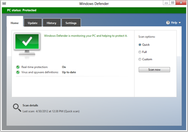 Windows Defender in Windows 8