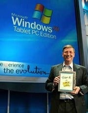 Bill Gates at the 2002 introduction of Windows Tablet PC edition with digital pen