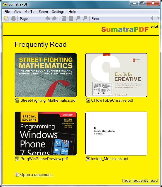Banish Bloatware: Adobe Reader vs. Sumatra PDF; click for full-size image.