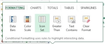 Excel's Quick Analysis tool.