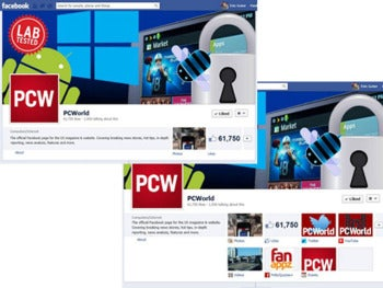 PCWorld's Facebook page without custom tabs (upper left) and with tabs added (lower right)