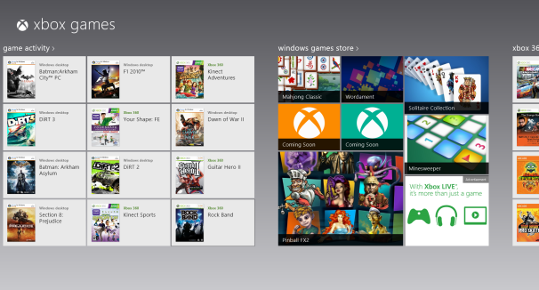Xbox Games in Windows 8